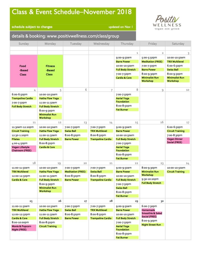 Positiv Nov18 class schedule 110118